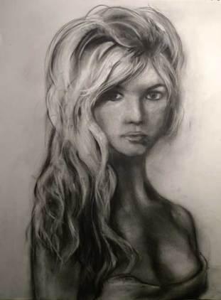 Et Dieu créa la femme - fusain 60x42 cm