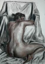 Azilys et le fauteuil - fusain - 100x70 cm