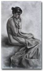 Azilys et le drap - fusain sur toile - 115x70 cm