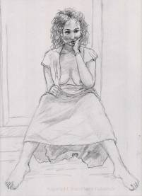 La cabaretière - croquis au crayon