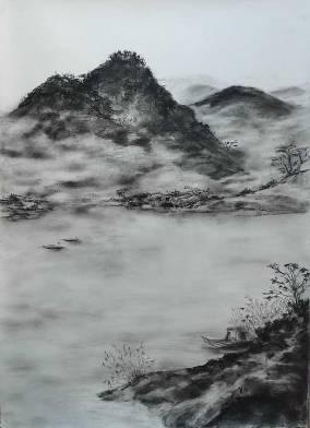 Paysage taoiste - fusain - 70x100 cm