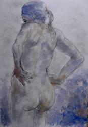 Nu bleu – fusain et acrylique sur papier