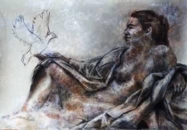 La dame blanche - croquis fusain et sepia