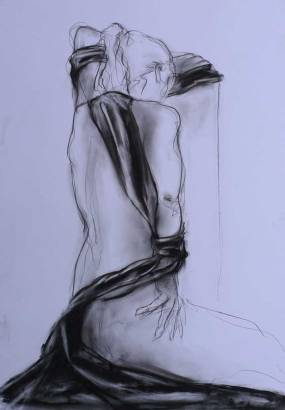 Milena au drapé noir - fusain - 70x100 cm