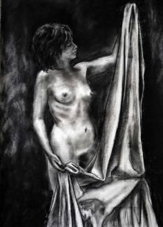 L'italienne - croquis fusain sur papier zerkall - 100x76 cm