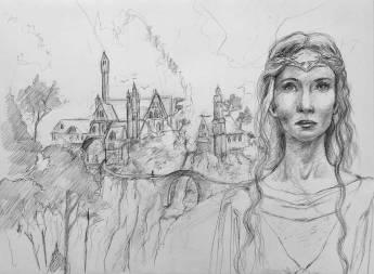 Galadriel et Rivendell - crayon graphite