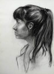 Carmen - Portrait au fusain sur papier Canson - 42x60 cm