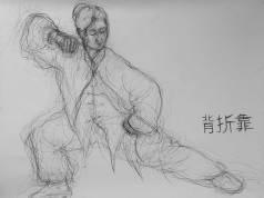 Croquis au fusain – Posture taichi chen – bèi zhé kào 背折靠