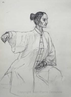 Posture taichi style chen - croquis crayon sur papier canson